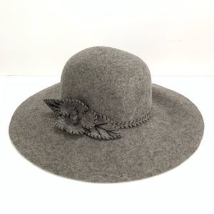 Women's Grey Wool Wide Brim Hat Flower Detail